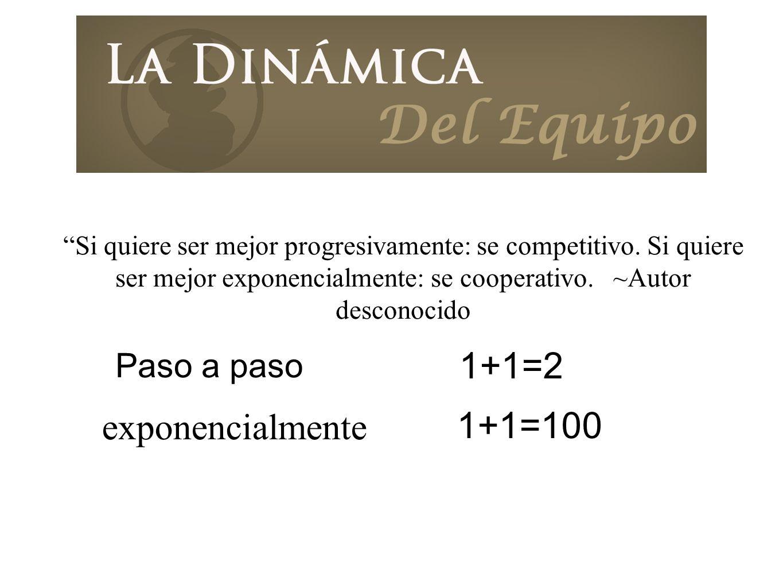 Si quiere ser mejor progresivamente: se competitivo. Si quiere ser mejor exponencialmente: se cooperativo. ~Autor desconocido 1+1=100 1+1=2 exponencia