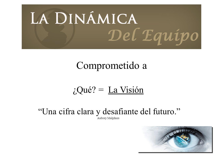 ¿Qué? = La Visión Una cifra clara y desafiante del futuro. Aubrey Malphurs Comprometido a