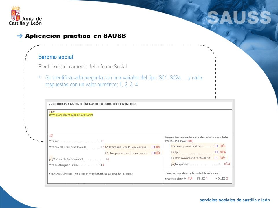 Baremo social Plantilla del documento del Informe Social Se identifica cada pregunta con una variable del tipo: S01, S02a…, y cada respuestas con un v