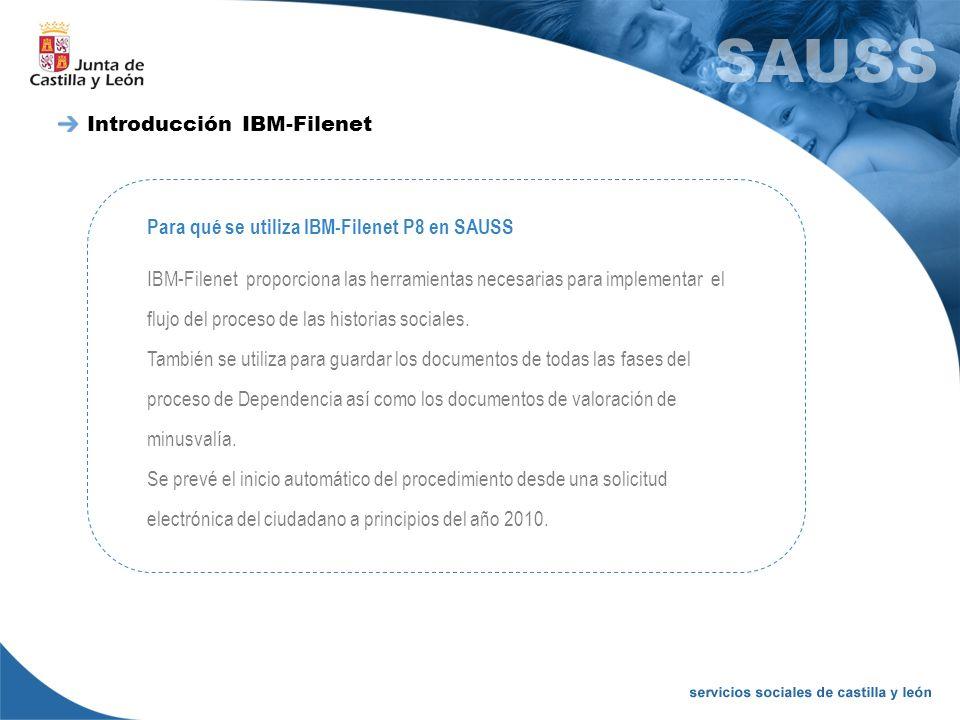 Introducción IBM-Filenet Para qué se utiliza IBM-Filenet P8 en SAUSS IBM-Filenet proporciona las herramientas necesarias para implementar el flujo del