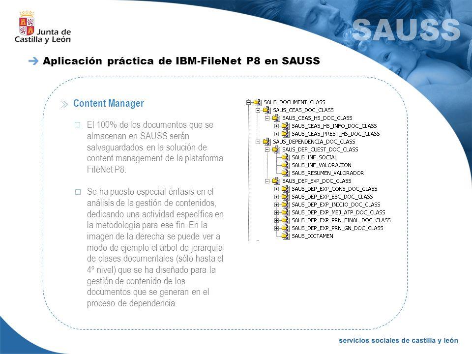 Content Manager El 100% de los documentos que se almacenan en SAUSS serán salvaguardados en la solución de content management de la plataforma FileNet