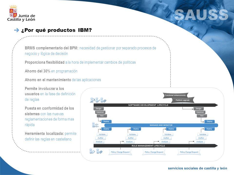 BRMS complementario del BPM: necesidad de gestionar por separado procesos de negocio y lógica de decisión Proporciona flexibilidad a la hora de implem