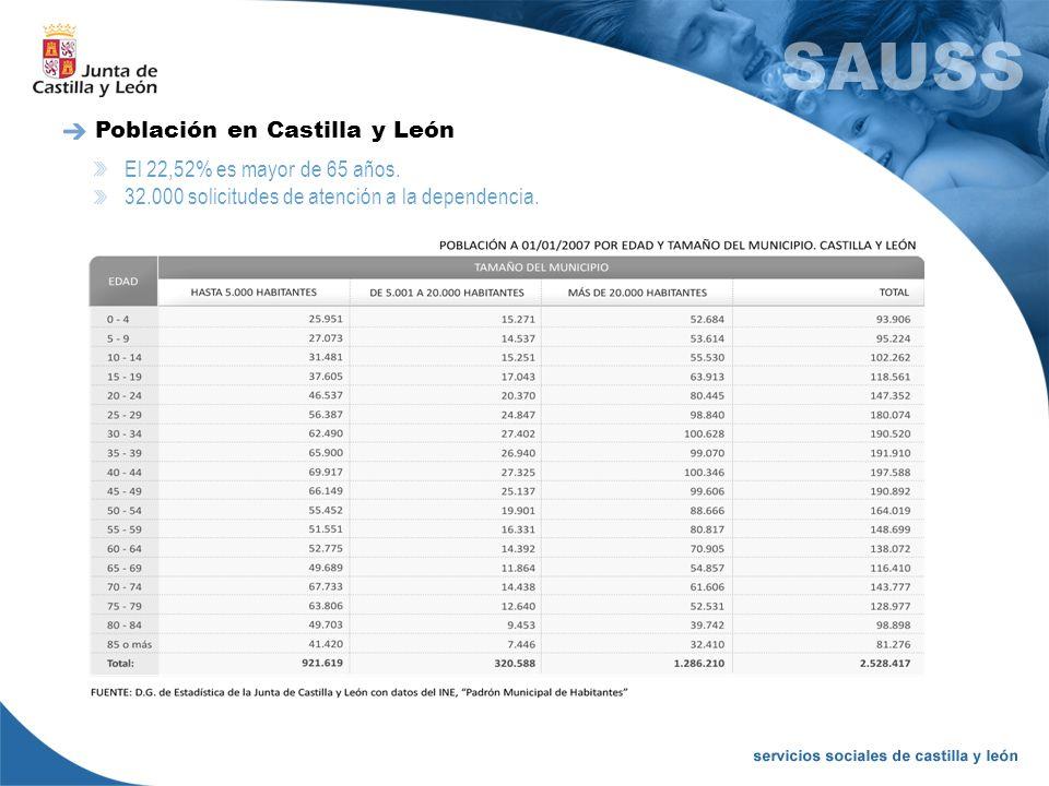 El 22,52% es mayor de 65 años. 32.000 solicitudes de atención a la dependencia. Población en Castilla y León