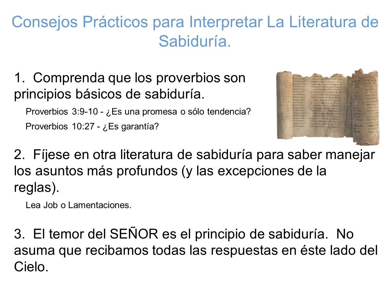 Consejos Prácticos para Interpretar La Literatura de Sabiduría.