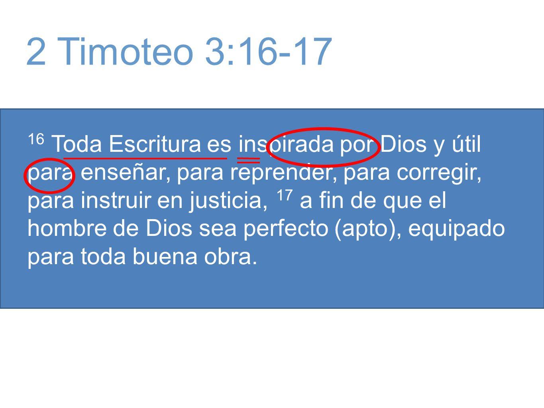 16 Toda Escritura es inspirada por Dios y útil para enseñar, para reprender, para corregir, para instruir en justicia, 17 a fin de que el hombre de Dios sea perfecto (apto), equipado para toda buena obra.