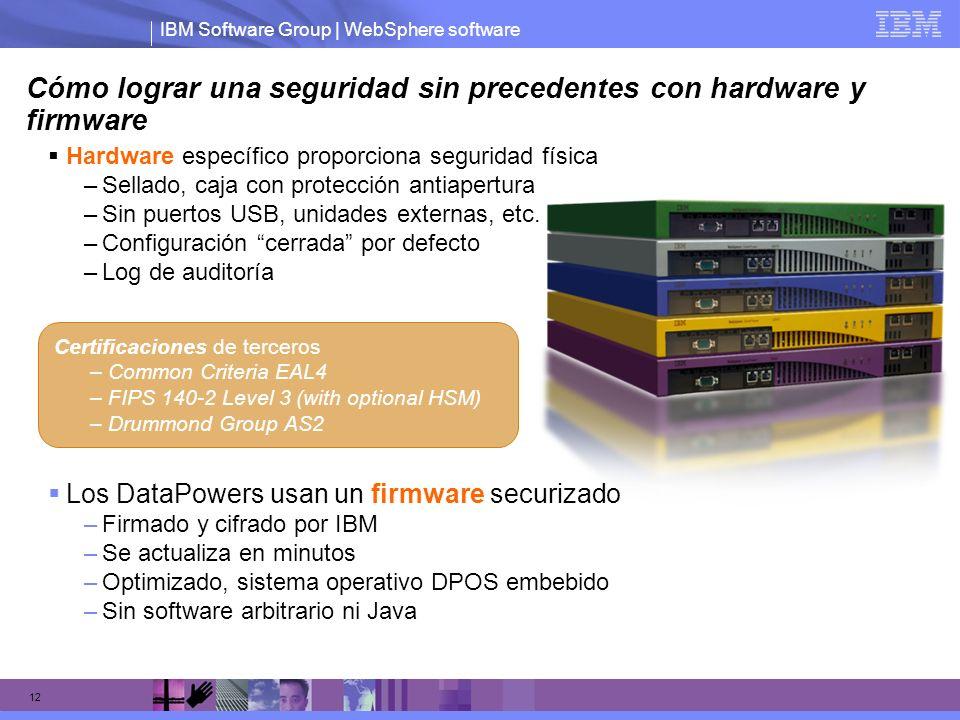 IBM Software Group | WebSphere software 12 Cómo lograr una seguridad sin precedentes con hardware y firmware Los DataPowers usan un firmware securizad