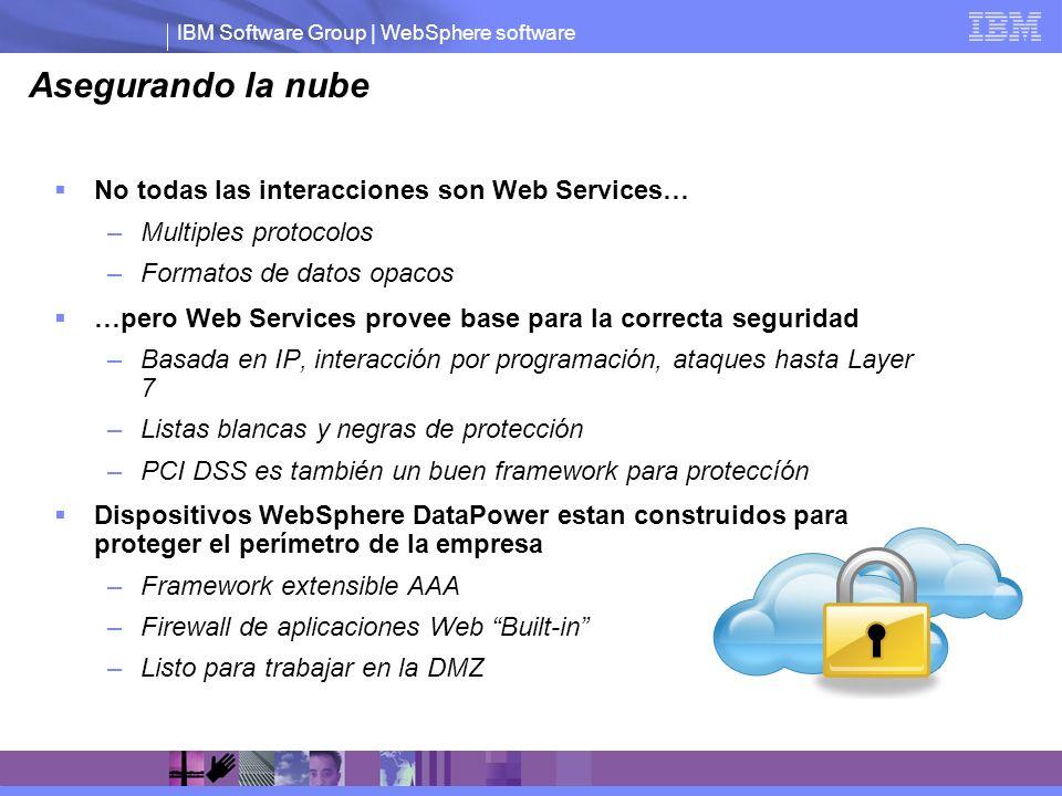IBM Software Group | WebSphere software Asegurando la nube No todas las interacciones son Web Services… –Multiples protocolos –Formatos de datos opaco