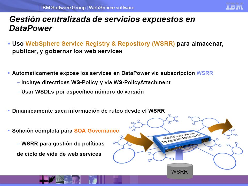 IBM Software Group | WebSphere software Gestión centralizada de servicios expuestos en DataPower Uso WebSphere Service Registry & Repository (WSRR) pa