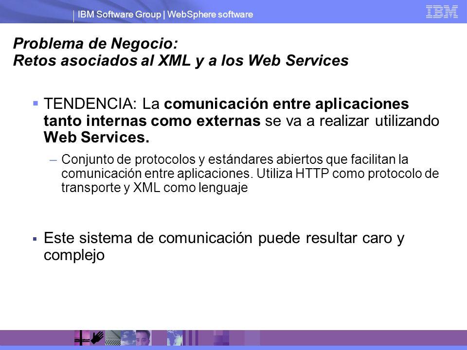 IBM Software Group | WebSphere software Problema de Negocio: Retos asociados al XML y a los Web Services TENDENCIA: La comunicación entre aplicaciones