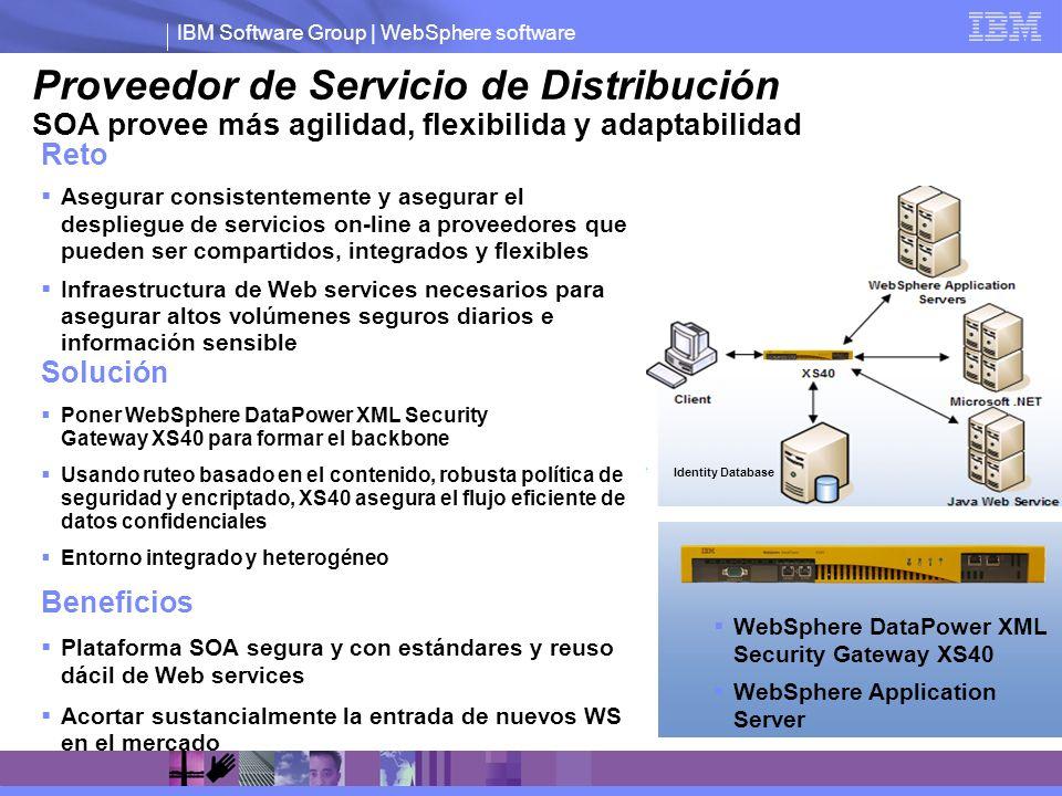 IBM Software Group | WebSphere software Proveedor de Servicio de Distribución SOA provee más agilidad, flexibilida y adaptabilidad Solución Poner WebS