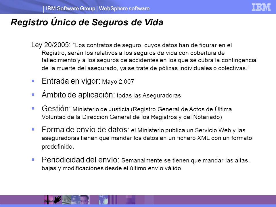 IBM Software Group | WebSphere software Registro Único de Seguros de Vida Ley 20/2005: Los contratos de seguro, cuyos datos han de figurar en el Regis