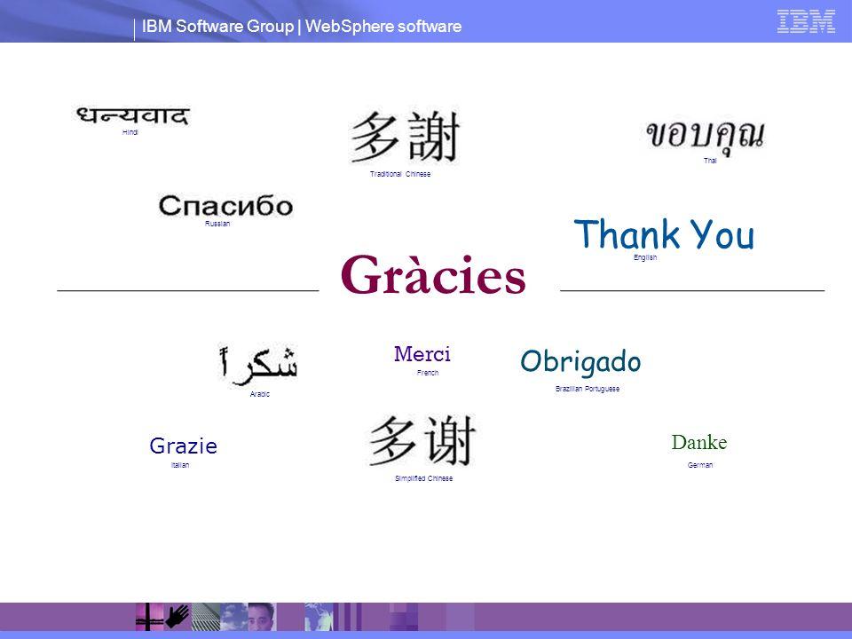 IBM Software Group | WebSphere software Thank You Merci Grazie Gràcies Obrigado Danke English French Russian GermanItalian Brazilian Portuguese Arabic