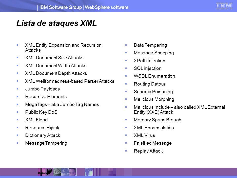 IBM Software Group | WebSphere software Firewall XML Protección contra ataques XML Filtro por cualquier parámetro: dato, metadato, puerto, IP, url, etc.