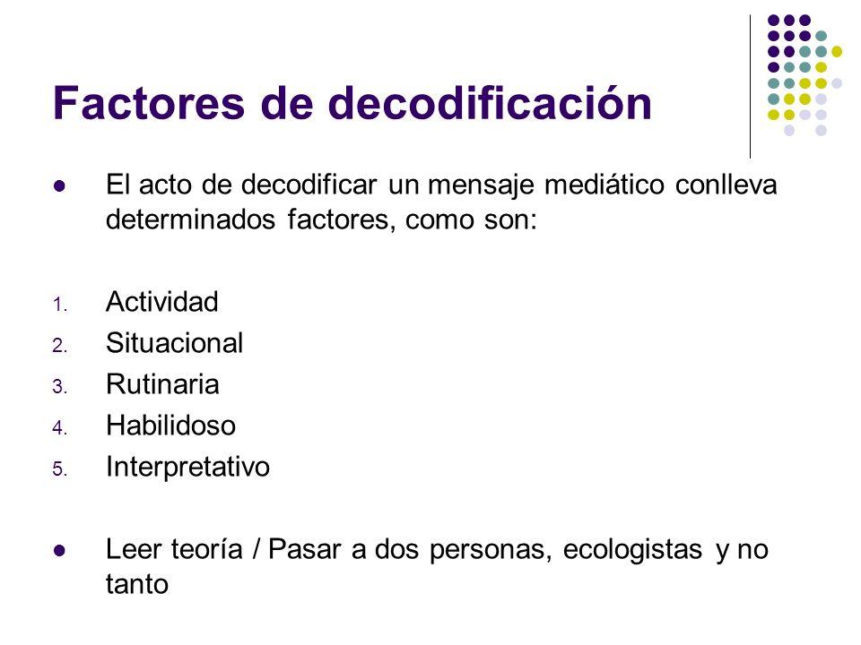 Factores de decodificación El acto de decodificar un mensaje mediático conlleva determinados factores, como son: 1. Actividad 2. Situacional 3. Rutina