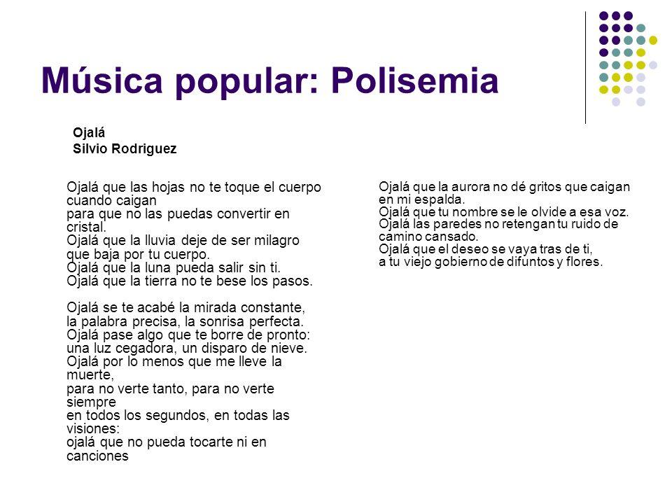 Música popular: Polisemia Ojalá que las hojas no te toque el cuerpo cuando caigan para que no las puedas convertir en cristal. Ojalá que la lluvia dej