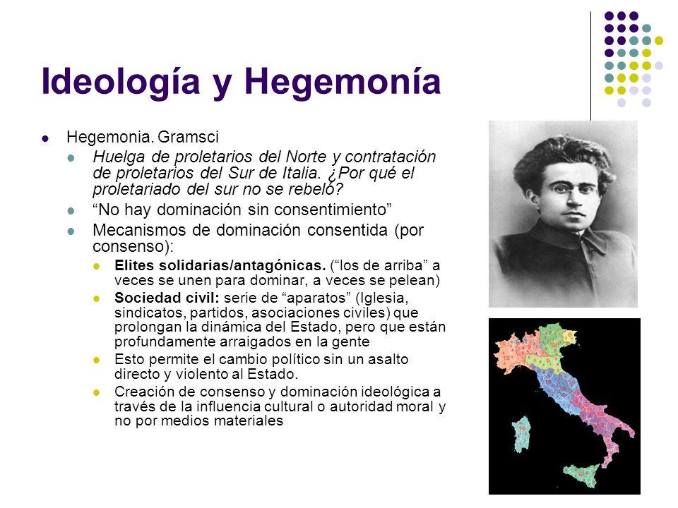 Ideología y Hegemonía Hegemonia. Gramsci Huelga de proletarios del Norte y contratación de proletarios del Sur de Italia. ¿Por qué el proletariado del