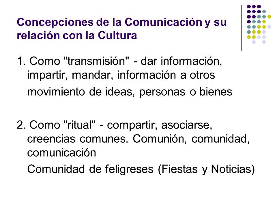 Concepciones de la Comunicación y su relación con la Cultura 1. Como