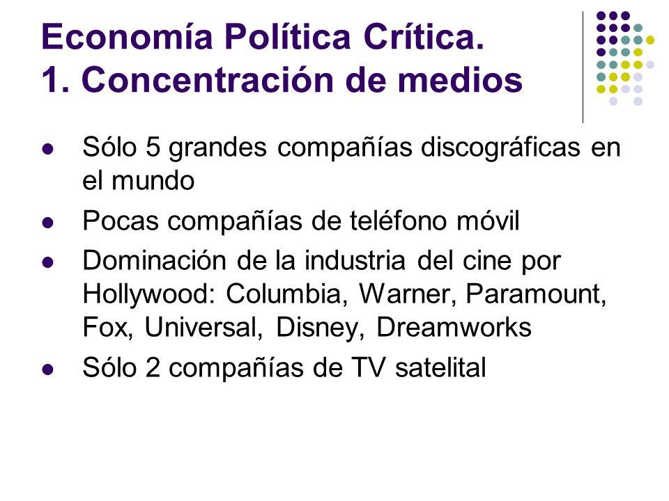 Economía Política Crítica. 1. Concentración de medios Sólo 5 grandes compañías discográficas en el mundo Pocas compañías de teléfono móvil Dominación