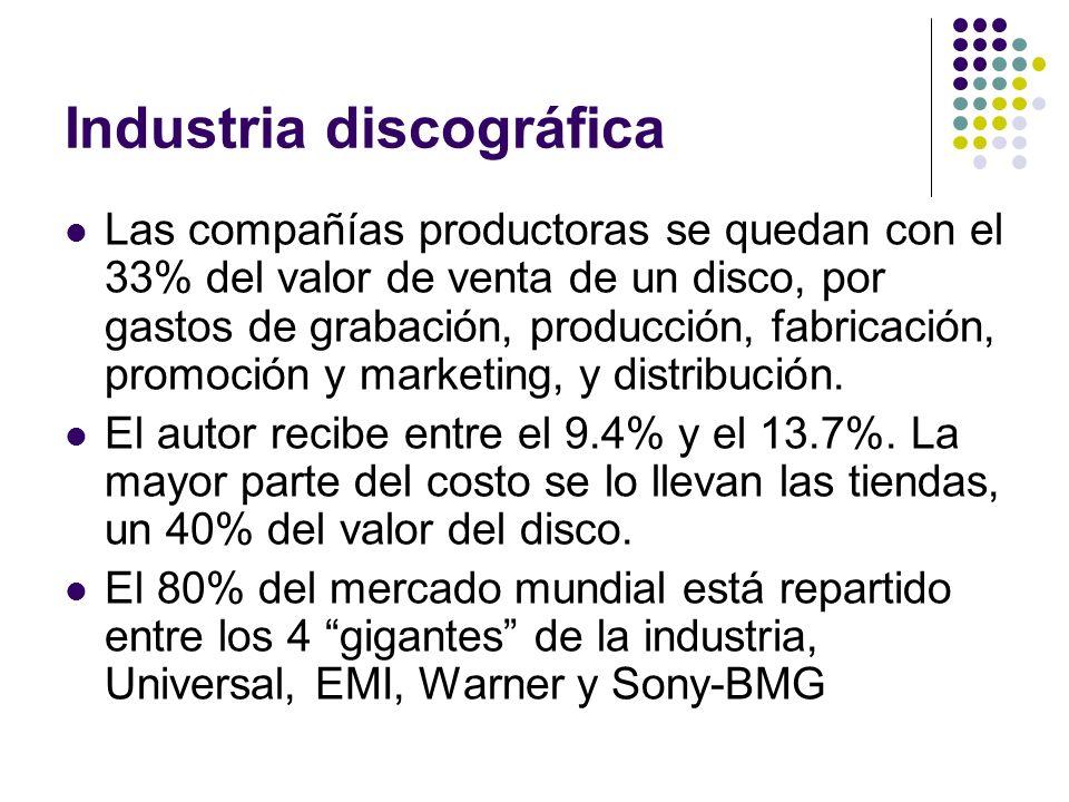 Industria discográfica Las compañías productoras se quedan con el 33% del valor de venta de un disco, por gastos de grabación, producción, fabricación