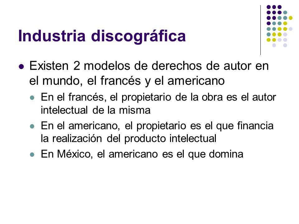 Industria discográfica Existen 2 modelos de derechos de autor en el mundo, el francés y el americano En el francés, el propietario de la obra es el au
