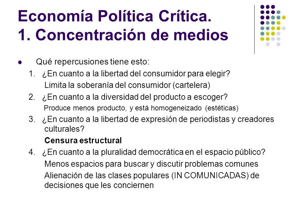 Economía Política Crítica. 1. Concentración de medios Qué repercusiones tiene esto: 1. ¿En cuanto a la libertad del consumidor para elegir? Limita la