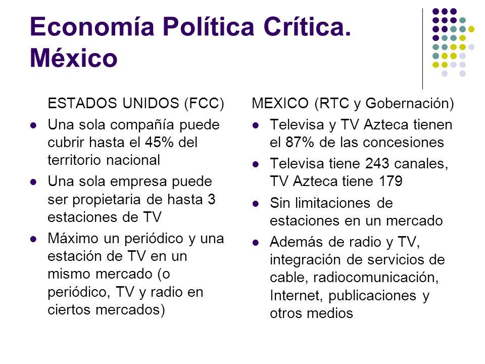 Economía Política Crítica. México ESTADOS UNIDOS (FCC) Una sola compañía puede cubrir hasta el 45% del territorio nacional Una sola empresa puede ser