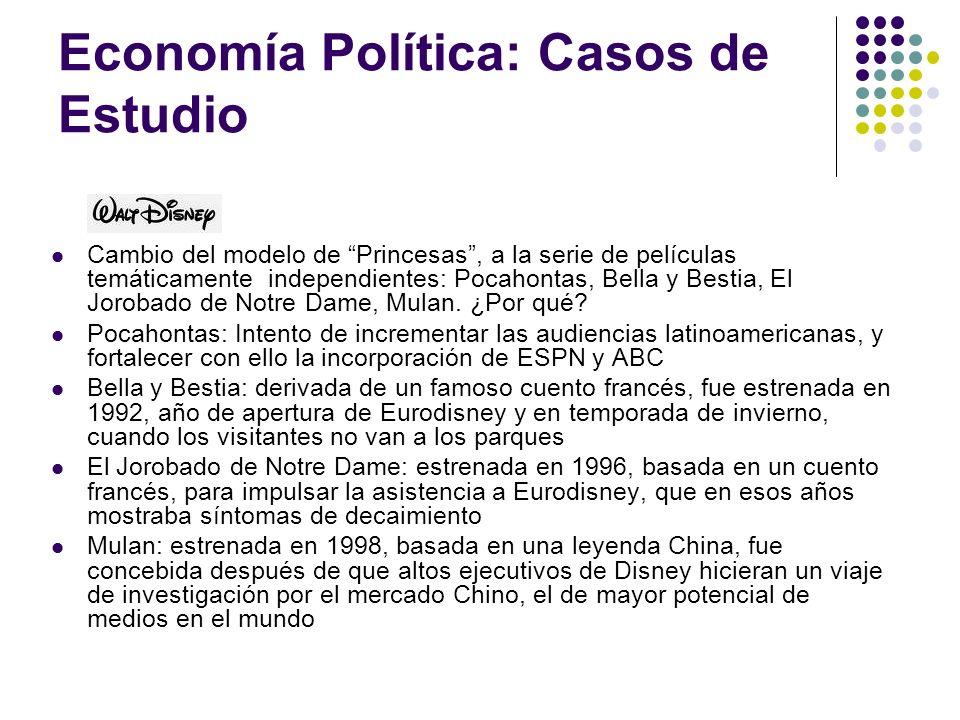 Economía Política: Casos de Estudio Cambio del modelo de Princesas, a la serie de películas temáticamente independientes: Pocahontas, Bella y Bestia,
