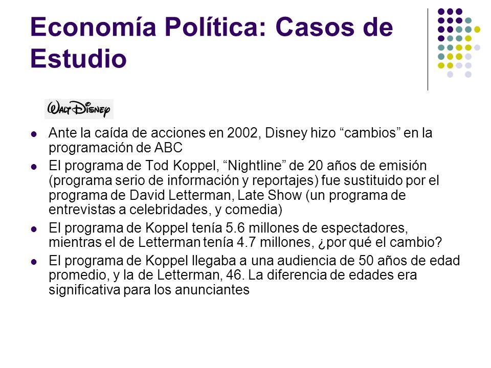 Economía Política: Casos de Estudio Ante la caída de acciones en 2002, Disney hizo cambios en la programación de ABC El programa de Tod Koppel, Nightl