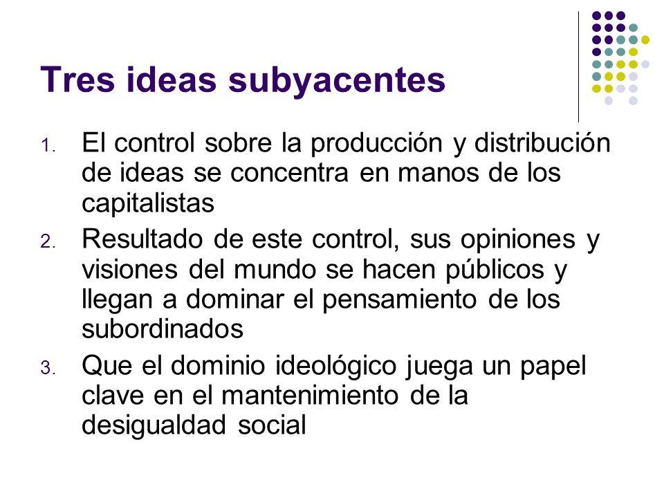Tres ideas subyacentes 1. El control sobre la producción y distribución de ideas se concentra en manos de los capitalistas 2. Resultado de este contro