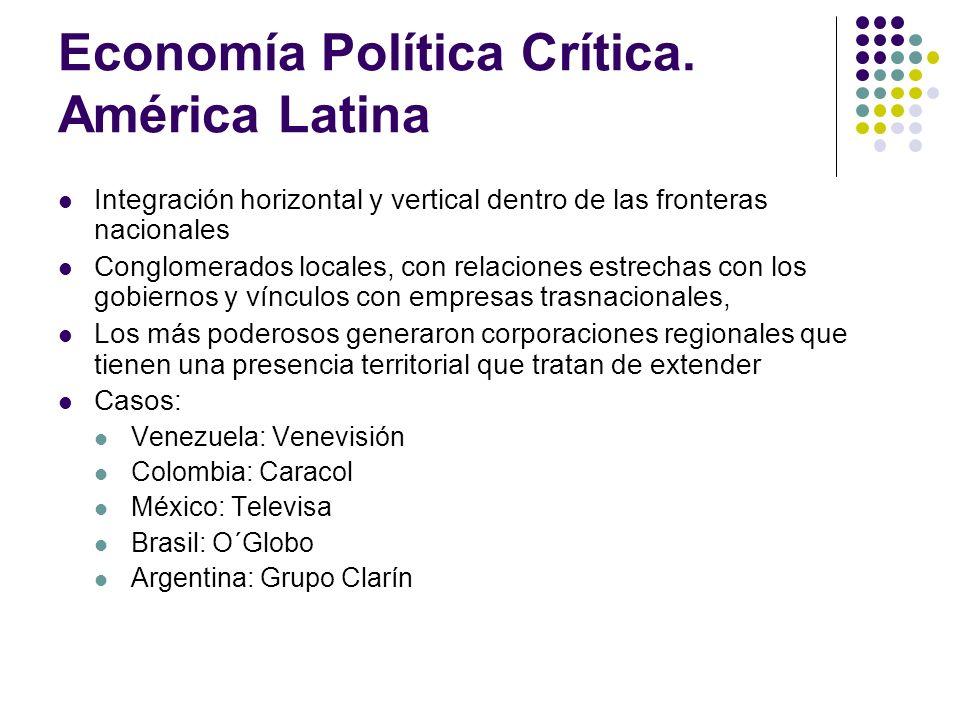 Economía Política Crítica. América Latina Integración horizontal y vertical dentro de las fronteras nacionales Conglomerados locales, con relaciones e