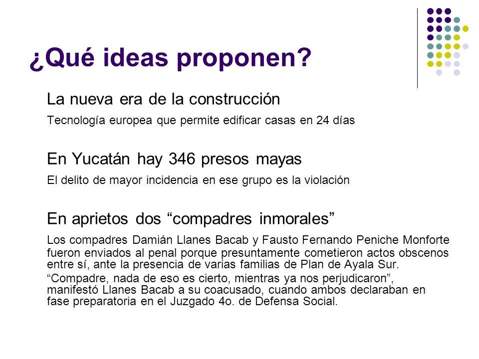 ¿Qué ideas proponen? La nueva era de la construcción Tecnología europea que permite edificar casas en 24 días En Yucatán hay 346 presos mayas El delit