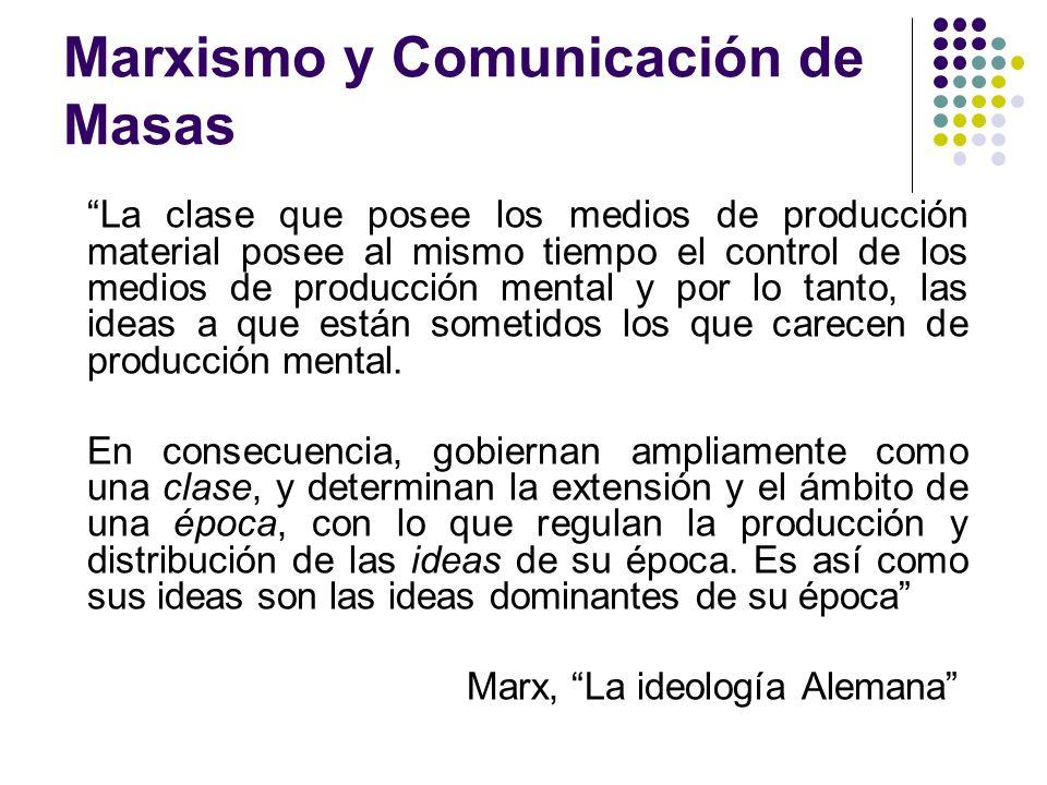 Marxismo y Comunicación de Masas La clase que posee los medios de producción material posee al mismo tiempo el control de los medios de producción men
