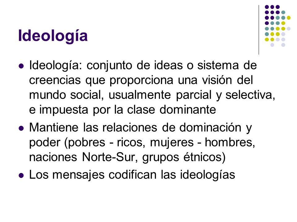Ideología Ideología: conjunto de ideas o sistema de creencias que proporciona una visión del mundo social, usualmente parcial y selectiva, e impuesta