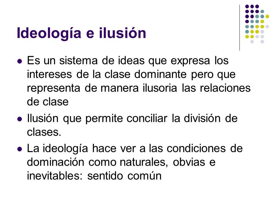 Ideología e ilusión Es un sistema de ideas que expresa los intereses de la clase dominante pero que representa de manera ilusoria las relaciones de cl