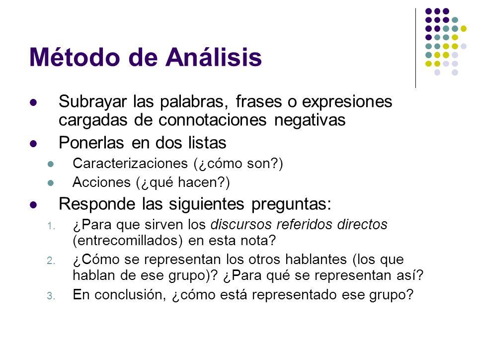 Método de Análisis Subrayar las palabras, frases o expresiones cargadas de connotaciones negativas Ponerlas en dos listas Caracterizaciones (¿cómo son