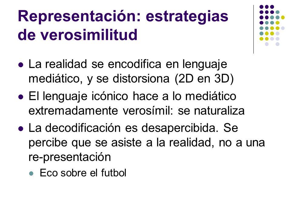 Representación: estrategias de verosimilitud La realidad se encodifica en lenguaje mediático, y se distorsiona (2D en 3D) El lenguaje icónico hace a l