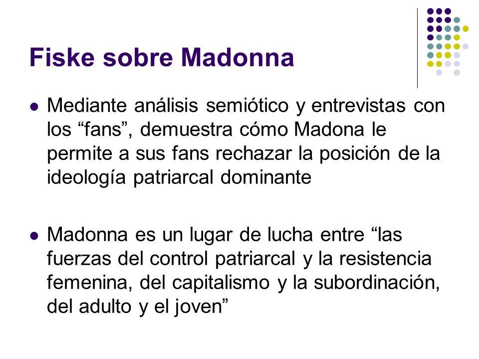 Fiske sobre Madonna Mediante análisis semiótico y entrevistas con los fans, demuestra cómo Madona le permite a sus fans rechazar la posición de la ide
