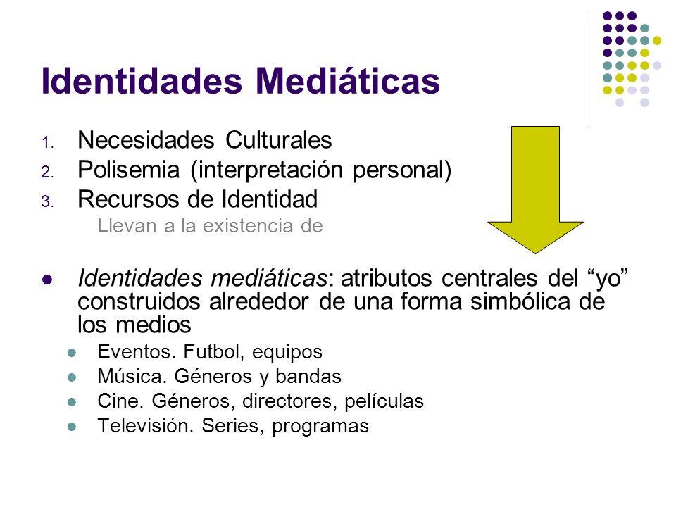 Identidades Mediáticas 1. Necesidades Culturales 2. Polisemia (interpretación personal) 3. Recursos de Identidad Llevan a la existencia de Identidades