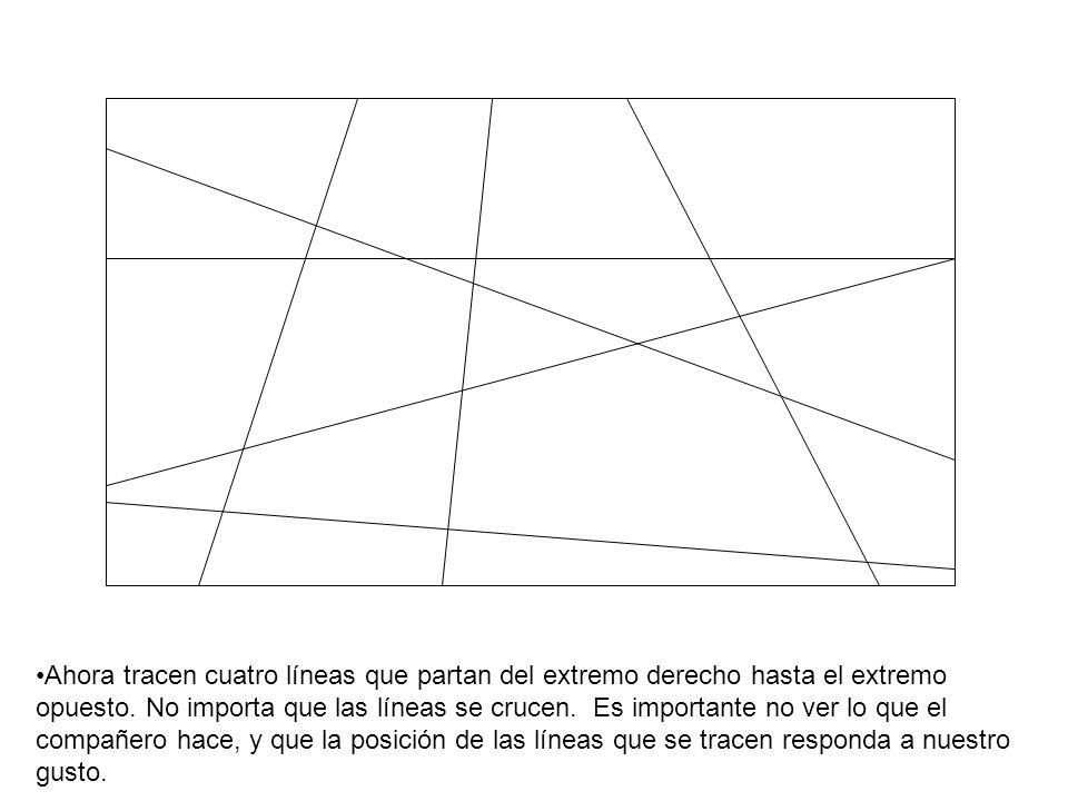 Ahora tracen cuatro líneas que partan del extremo derecho hasta el extremo opuesto. No importa que las líneas se crucen. Es importante no ver lo que e