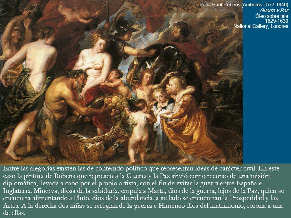 Entre las alegorías existen las de contenido político que representan ideas de carácter civil. En este caso la pintura de Rubens que representa la Gue