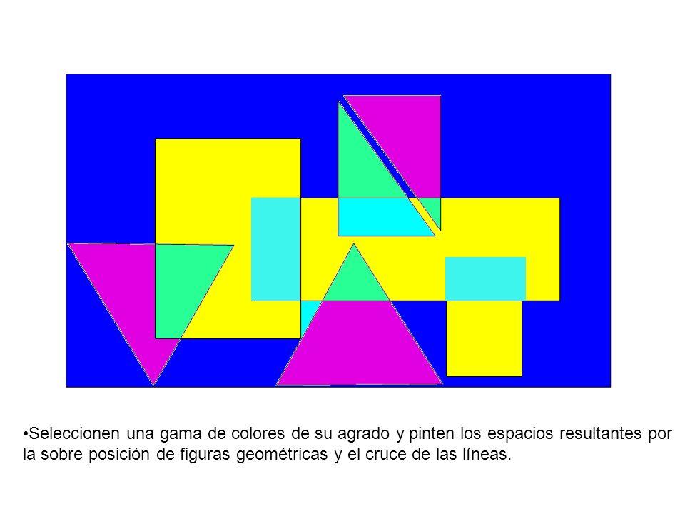 Seleccionen una gama de colores de su agrado y pinten los espacios resultantes por la sobre posición de figuras geométricas y el cruce de las líneas.
