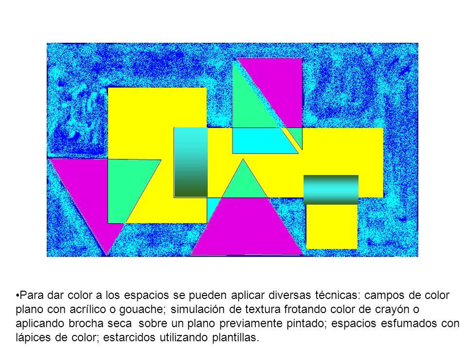 Para dar color a los espacios se pueden aplicar diversas técnicas: campos de color plano con acrílico o gouache; simulación de textura frotando color
