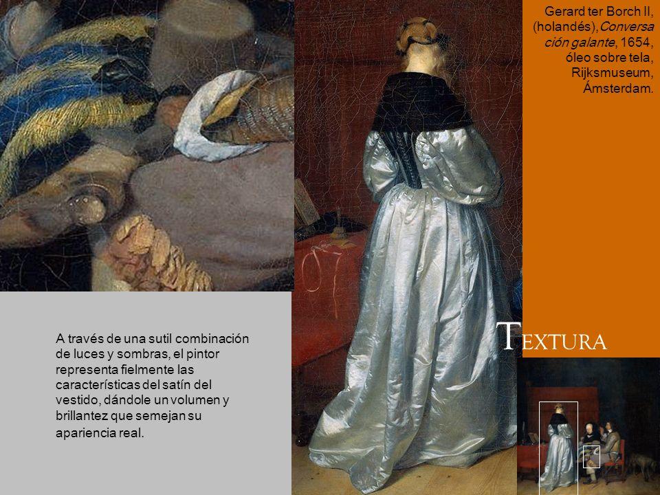 A través de una sutil combinación de luces y sombras, el pintor representa fielmente las características del satín del vestido, dándole un volumen y b
