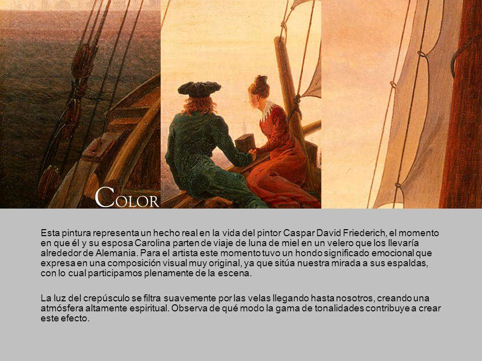 Esta pintura representa un hecho real en la vida del pintor Caspar David Friederich, el momento en que él y su esposa Carolina parten de viaje de luna
