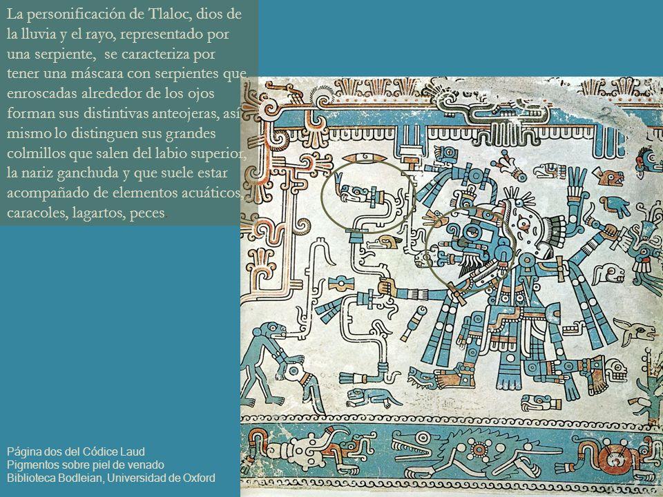 La personificación de Tlaloc, dios de la lluvia y el rayo, representado por una serpiente, se caracteriza por tener una máscara con serpientes que enr