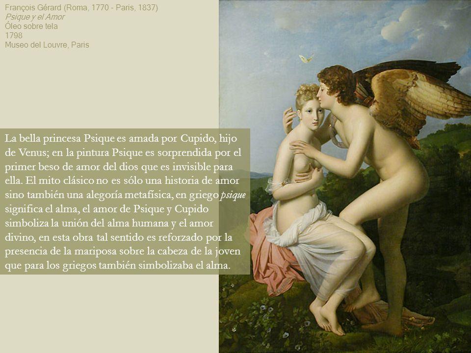 La bella princesa Psique es amada por Cupido, hijo de Venus; en la pintura Psique es sorprendida por el primer beso de amor del dios que es invisible