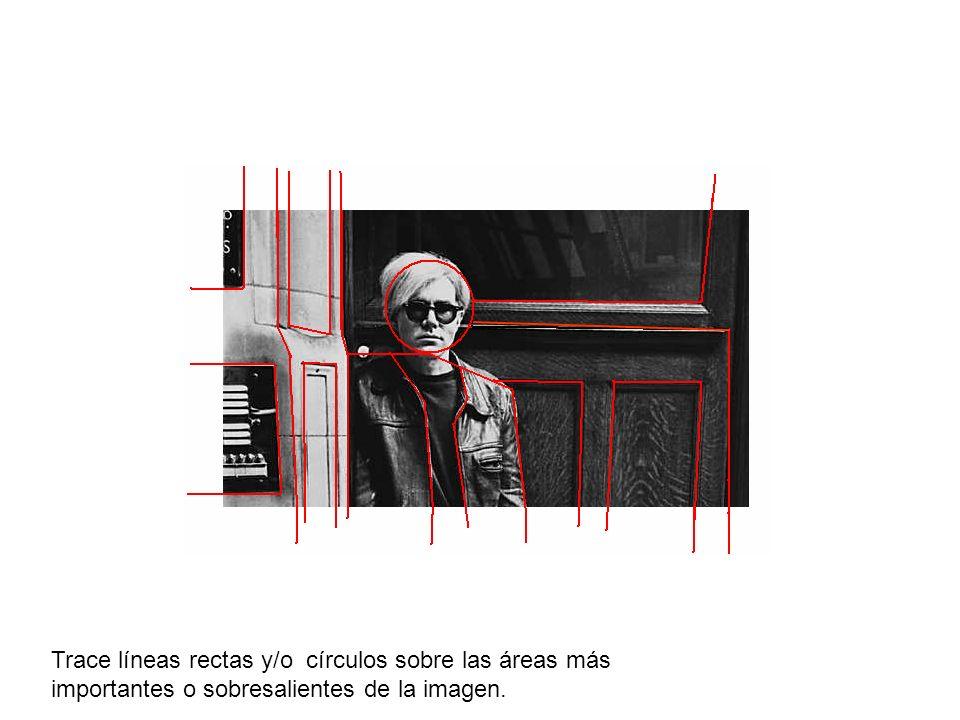 Trace líneas rectas y/o círculos sobre las áreas más importantes o sobresalientes de la imagen.