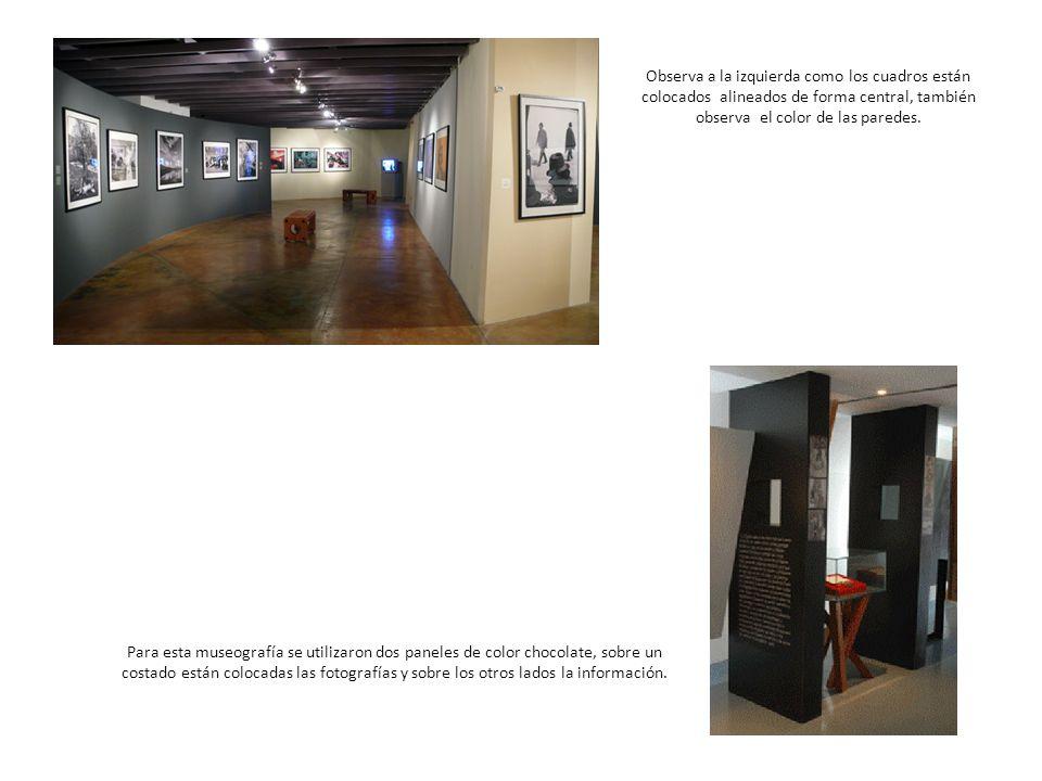 Observa a la izquierda como los cuadros están colocados alineados de forma central, también observa el color de las paredes.