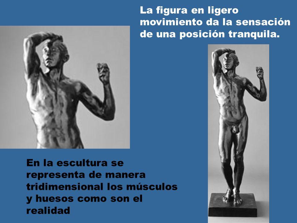 En la escultura se representa de manera tridimensional los músculos y huesos como son el realidad La figura en ligero movimiento da la sensación de una posición tranquila.