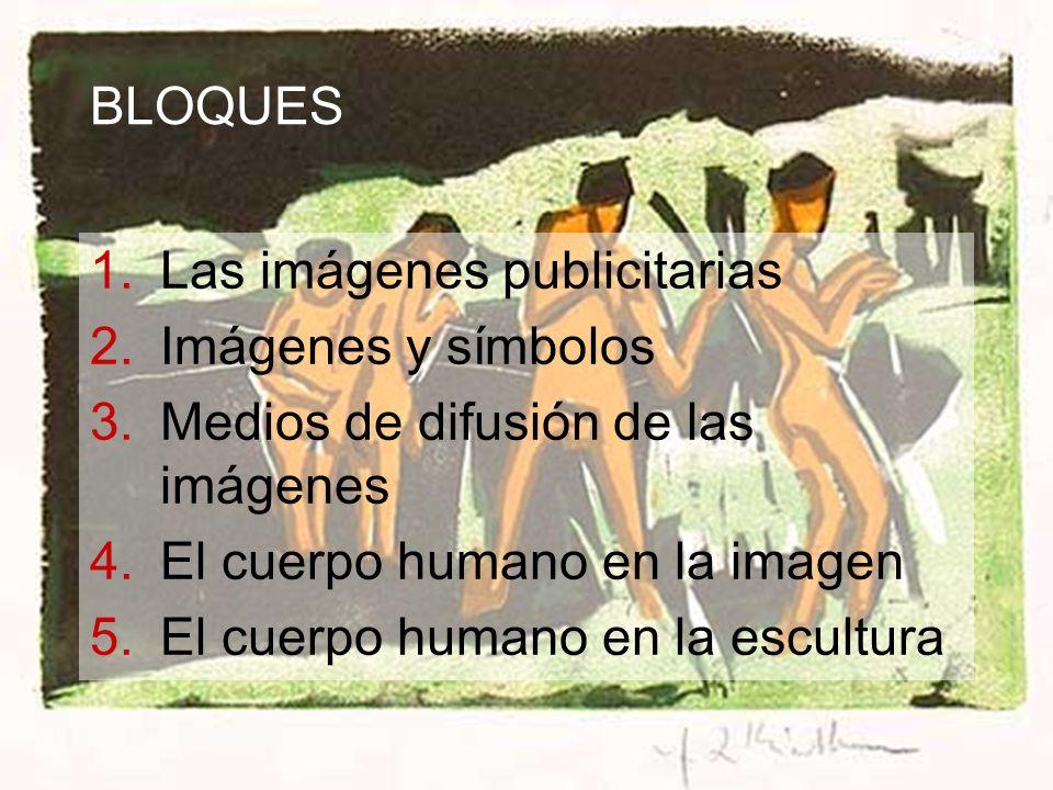 BLOQUES 1.Las imágenes publicitarias 2.Imágenes y símbolos 3.Medios de difusión de las imágenes 4.El cuerpo humano en la imagen 5.El cuerpo humano en